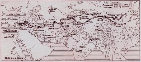 La Ruta de la Seda a través de Persia - Mapa por Editorial Dca