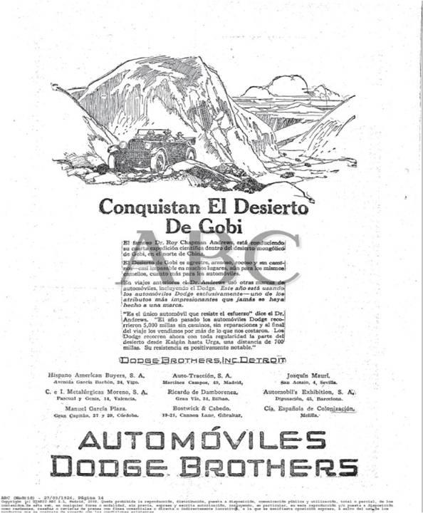 Anuncio ABC 1926 Dodge y la Expedición de Andrews a Mongolia