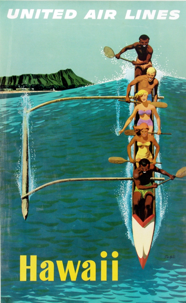 Póster Vintage United Airlines Hawaii