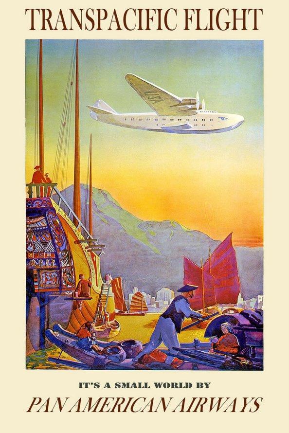 Póster de viaje vintage - Vuelos transpacíficos Pan American